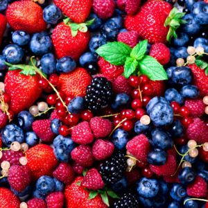 strawberries, blueberries, raspberries and black berries. fresh berries on white background