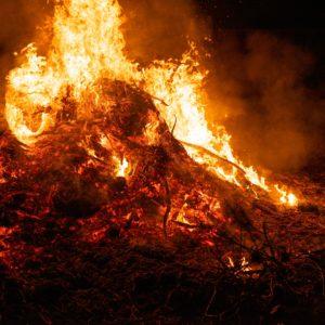 Big bonfire burning in the night