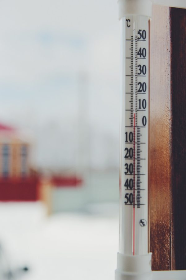 Spring, outdoor thermometer measures the temperature